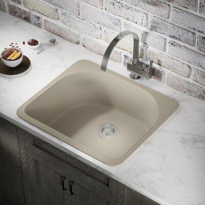 Granite Composite 25 x 22 Drop-In Kitchen Sink with Basket Strainer Finish: Slate