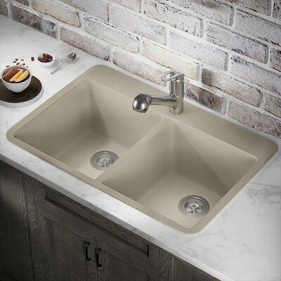Granite Composite 33 x 22 Double Basin Drop-in Kitchen Sink Finish: Slate