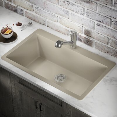 Granite Composite 33 x 21 Drop-In Kitchen Sink with Basket Strainer Finish: Slate