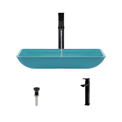 Rectangualr Glass Rectangular Vessel Bathroom Sink with Faucet Sink Finish: Turquoise, Faucet Finish: Antique Rubbed Bronze