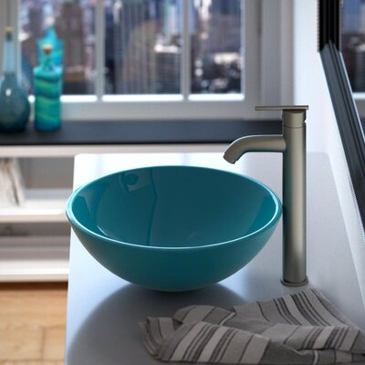 Glass Circular Vessel Bathroom Sink Sink Finish: Turquoise