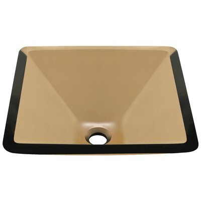 Glass Square Vessel Bathroom Sink Sink Finish: Taupe