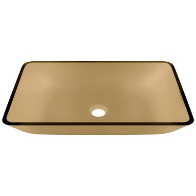 Glass Rectangular Vessel Bathroom Sink Sink Finish: Taupe
