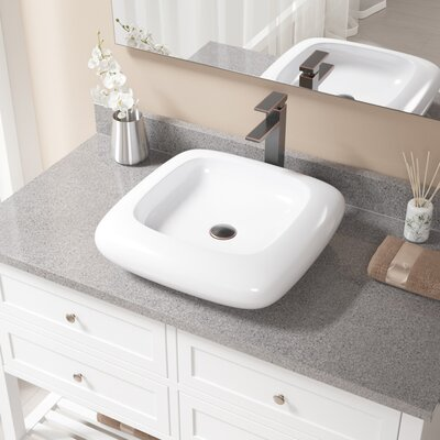 Pillow Top Vitreous China Square Vessel Bathroom Sink with Faucet Sink Finish: White, Faucet Finish: Antique Rubbed Bronze