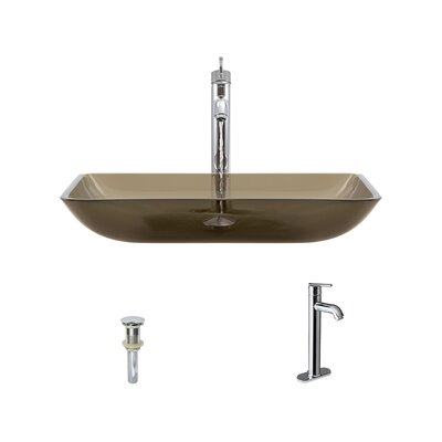 Glass Rectangular Vessel Bathroom Sink with Faucet Sink Finish: Taupe, Faucet Sink: Chrome