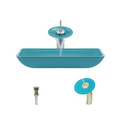 Glass Rectangular Vessel Bathroom Sink with Faucet Sink Finish: Turquoise, Faucet Finish: Brushed Nickel