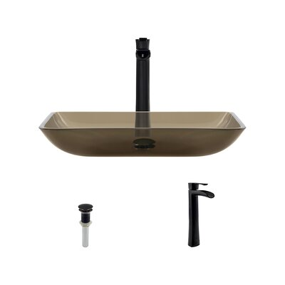 Glass Rectangular Vessel Bathroom Sink with Faucet Sink Finish: Taupe, Faucet Finish: Antique Rubbed Bronze