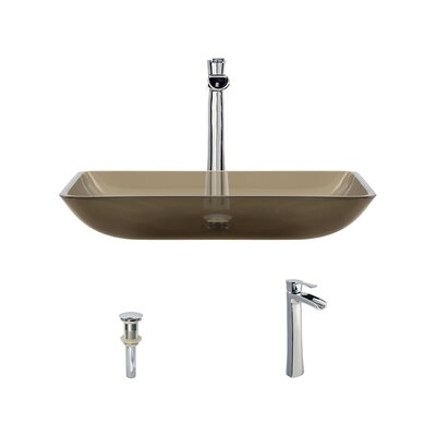 Glass Rectangular Vessel Bathroom Sink with Faucet Sink Finish: Taupe, Faucet Finish: Chrome