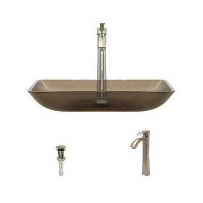 Glass Rectangular Vessel Bathroom Sink with Faucet Sink Finish: Taupe, Faucet Finish: Brushed Nickel