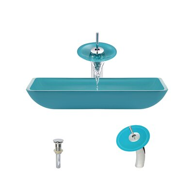 Glass Rectangular Vessel Bathroom Sink with Faucet Sink Finish: Turquoise, Faucet Finish: Chrome