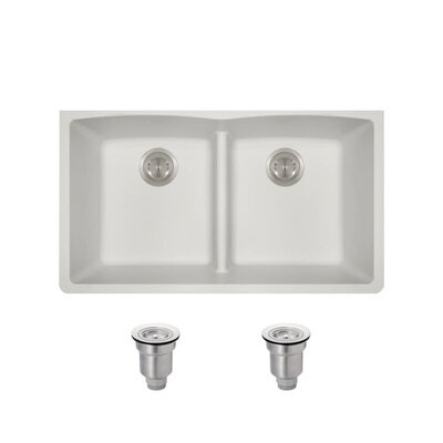 Granite Composite 33 x 19 Double Basin Undermount Kitchen Sink with Basket Strainers Finish: White