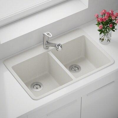 Granite Composite 33 x 22 Double Basin Drop-in Kitchen Sink Finish: White