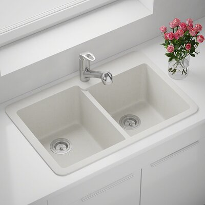 33 x 22 Double Basin Drop-in Kitchen Sink Finish: White
