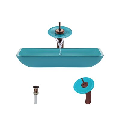 Glass Rectangular Vessel Bathroom Sink with Faucet Sink Finish: Turquoise, Faucet Finish: Oil Rubbed Bronze