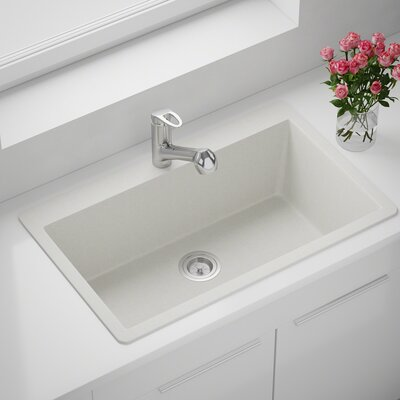 Granite Composite 33 x 21 Drop-In Kitchen Sink with Basket Strainer Finish: White