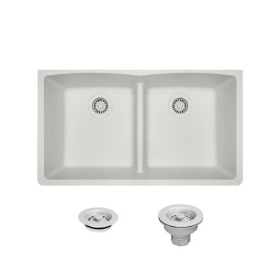 Granite Composite 33 x 19 Double Basin Undermount Kitchen Sink with Strainers and Flange Finish: White