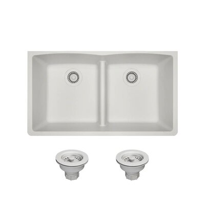 Granite Composite 33 x 19 Double Basin Undermount Kitchen Sink with Strainers Finish: White