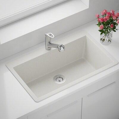 Granite Composite 33 x 21 Drop-in Kitchen Sink Finish: White