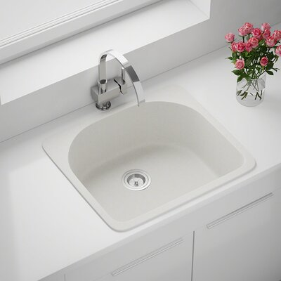 Granite Composite 25 x 22 Drop-in Kitchen Sink Finish: White