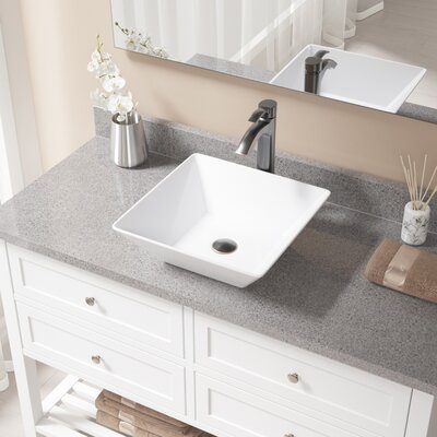 Vitreous China Square Vessel Bathroom Sink with Faucet Sink Finish: White, Faucet Finish: Antique Rubbed Bronze