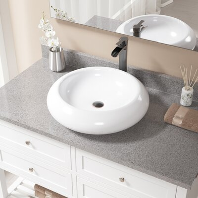 Pillow Top Vitreous China Circular Vessel Bathroom Sink with Faucet Sink Finish: White, Faucet Finish: Antique Rubbed Bronze