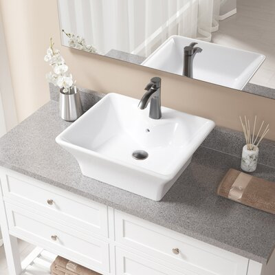 Vitreous China Rectangular Vessel Bathroom Sink with Faucet and Overflow Sink Finish: White, Faucet Finish: Antique Rubbed Bronze