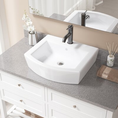 Specialty Vitreous China Specialty Vessel Bathroom Sink with Faucet and Overflow Sink Finish: White, Faucet Finish: Antique Rubbed Bronze