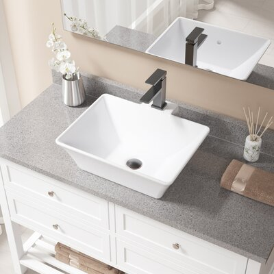 Rectangualr Vitreous China Rectangular Vessel Bathroom Sink with Faucet and Overflow Sink Finish: White, Faucet Finish: Antique Rubbed Bronze
