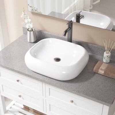 Pillow Top Vitreous China Rectangular Vessel Bathroom Sink with Faucet Sink Finish: White, Faucet Finish: Antique Rubbed Bronze