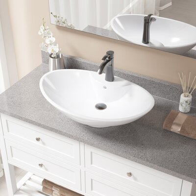 Vitreous China Oval Vessel Bathroom Sink with Faucet and Overflow Sink Finish: White, Faucet Finish: Chrome