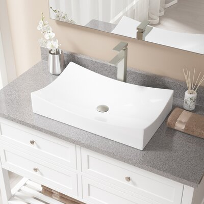Rectangualr Vitreous China Rectangular Vessel Bathroom Sink with Faucet Sink Finish: White, Faucet Finish: Brushed Nickel