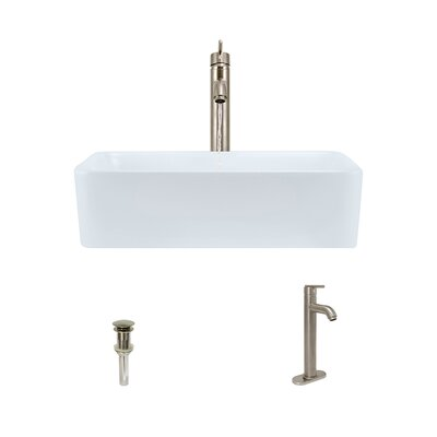 Vitreous China Rectangular Vessel Bathroom Sink with Faucet Sink Finish: White, Faucet Finish: Brushed Nickel