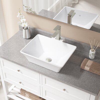 Rectangualr Vitreous China Rectangular Vessel Bathroom Sink with Faucet and Overflow Sink Finish: White, Faucet Finish: Brushed Nickel