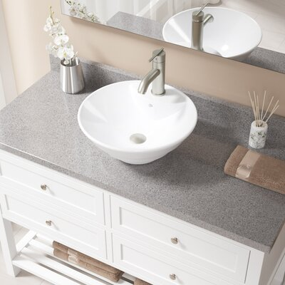 Vitreous China Circular Vessel Bathroom Sink with Faucet and Overflow Sink Finish: White, Faucet Finish: Brushed Nickel