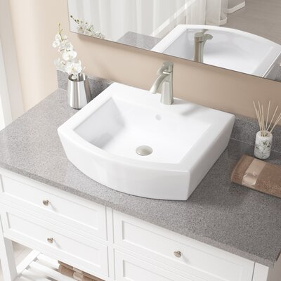 Specialty Vitreous China Specialty Vessel Bathroom Sink with Faucet and Overflow Sink Finish: White, Faucet Finish: Brushed Nickel