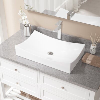 Rectangualr Vitreous China Rectangular Vessel Bathroom Sink with Faucet Sink Finish: White, Faucet Finish: Chrome