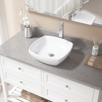 Vitreous China Specialty Vessel Bathroom Sink with Faucet Sink Finish: White, Faucet Finish: Chrome