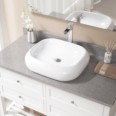 Pillow Top Vitreous China Rectangular Vessel Bathroom Sink with Faucet Sink Finish: White, Faucet Finish: Chrome