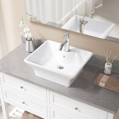 Vitreous China Rectangular Vessel Bathroom Sink with Faucet and Overflow Sink Finish: White, Faucet Finish: Chrome
