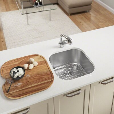 Stainless Steel 20 x 20 Undermount Bar Sink With Additional Accessories