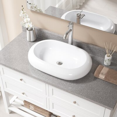 Pillow Top Vitreous China Oval Vessel Bathroom Sink with Faucet Sink Finish: White, Faucet Finish: Chrome