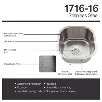 Stainless Steel 17 x 16 Undermount Bar Sink