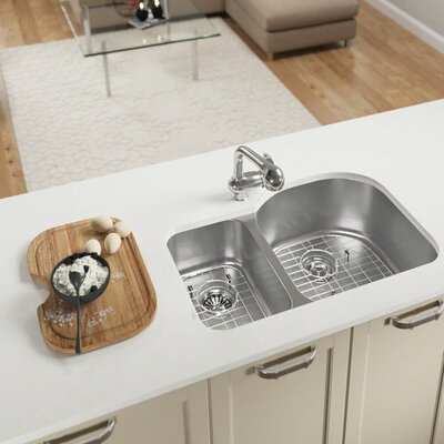 Stainless Steel 31 x 21 Double Basin Undermount Kitchen Sink With Additional Accessories
