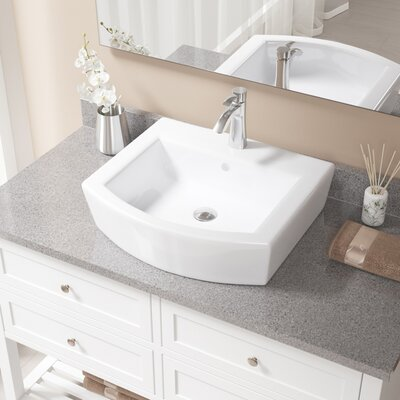 Specialty Vitreous China Specialty Vessel Bathroom Sink with Faucet and Overflow Sink Finish: White, Faucet Finish: Chrome