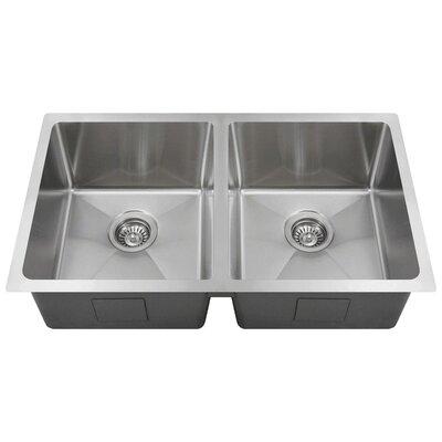 Stainless Steel 31 x 18 Double Basin Undermount Kitchen Sink