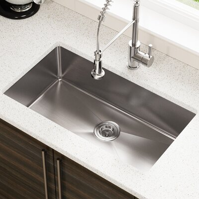 Stainless Steel 31 x 18 Single Undermount Kitchen Sink