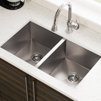 Stainless Steel 32 x 19 Double Basin Undermount Kitchen Sink