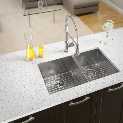 Stainless Steel 32 x 19 Double Basin Undermount Kitchen Sink With Additional Accessories
