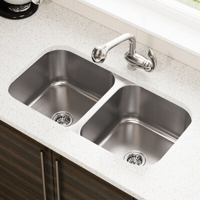 Stainless Steel 32 x 18 Double Basin Undermount Kitchen Sink