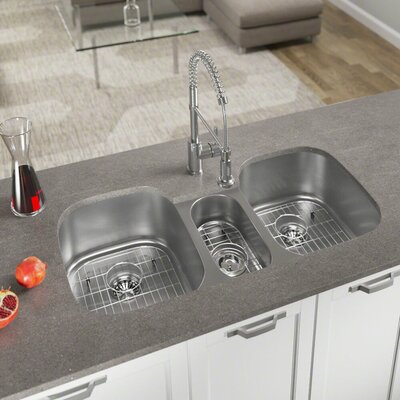 Stainless Steel  43 x 21 Triple Basin Undermount Kitchen Sink With Additional Accessories